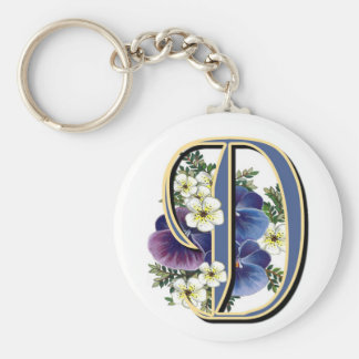 Handpainted Pansy IInitial - D Basic Round Button Keychain