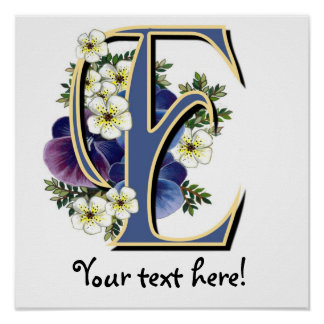 Handpainted Pansy IInitial - E Poster