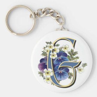 Handpainted Pansy Initial -  G Keychain