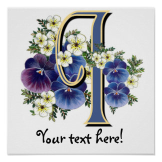 Handpainted Pansy Initial - I Posters
