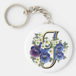 Handpainted Pansy Initial - J Basic Round Button Keychain