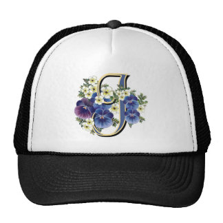 Handpainted Pansy Initial - J Trucker Hats