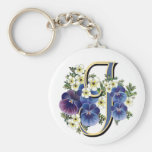 Handpainted Pansy Initial - J Keychain