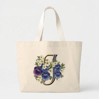 Handpainted Pansy Initial - J Large Tote Bag