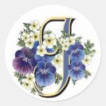Handpainted Pansy Initial - J Classic Round Sticker