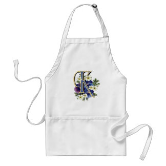 Handpainted Pansy Initial - K Adult Apron