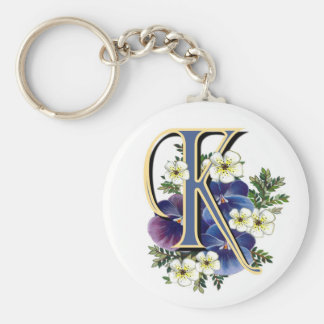 Handpainted Pansy Initial - K Basic Round Button Keychain