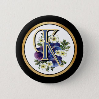 Handpainted Pansy Initial - K Button