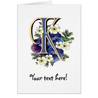 Handpainted Pansy Initial - K Card
