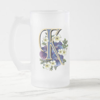 Handpainted Pansy Initial - K Frosted Glass Beer Mug
