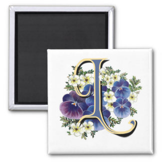 Handpainted Pansy Initial Monogram - L Refrigerator Magnets