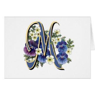 Handpainted Pansy Initial Monogram -  M Card
