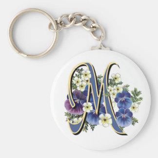 Handpainted Pansy Initial Monogram -  M Keychain