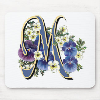 Handpainted Pansy Initial Monogram -  M Mouse Pad