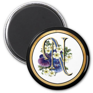 Handpainted Pansy Initial Monogram -  N 2 Inch Round Magnet