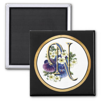 Handpainted Pansy Initial Monogram -  N 2 Inch Square Magnet