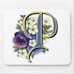 Handpainted Pansy Initial Monogram - P Mousepad