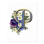 Handpainted Pansy Initial Monogram - P Postcard