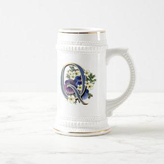 Handpainted Pansy Initial Monogram - Q Coffee Mug