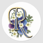 Handpainted Pansy Initial Monogram - R Classic Round Sticker