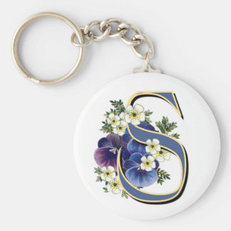 Handpainted Pansy Initial Monogram - S Keychains