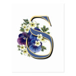 Handpainted Pansy Initial Monogram - S Post Cards