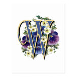Handpainted Pansy Initial Monogram -  W Post Card
