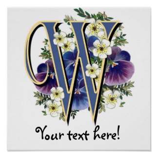 Handpainted Pansy Initial Monogram - W Posters