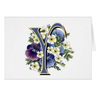 Handpainted Pansy Initial Monogram - Y Card