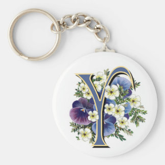 Handpainted Pansy Initial Monogram - Y Keychain