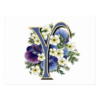 Handpainted Pansy Initial Monogram - Y Postcard