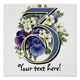 Handpainted Pansy Initial Monogram - Z Posters