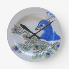 Handpainted Peacock Wall Clock