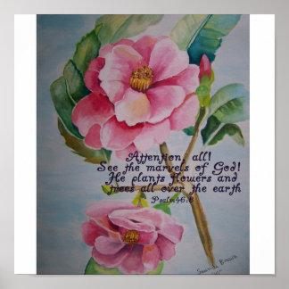 Handpainted pink Rose of Sharon Print