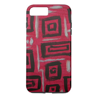 Handpainted Rectangles Black on Red - abstract art iPhone 7 Plus Case