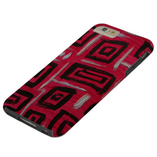 Handpainted Rectangles Black on Red - abstract art Tough iPhone 6 Plus Case