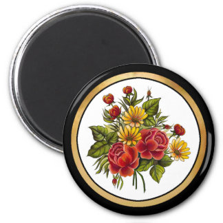Handpainted Red Roses and Blossoms Magnet