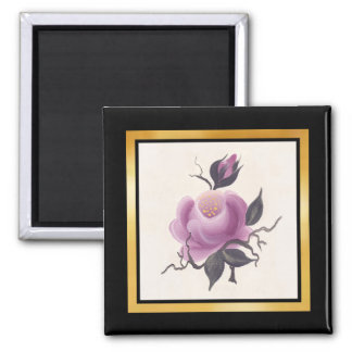 Handpainted Single Rose 2 Inch Square Magnet