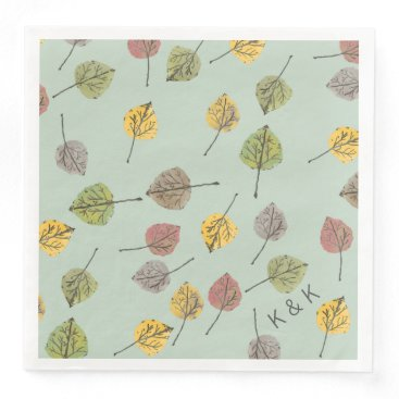 Beach Themed Handpainted Watercolor Aspen Leaves on Sage Green Paper Dinner Napkin