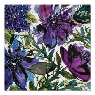Handpainted watercolor Floral design Poster