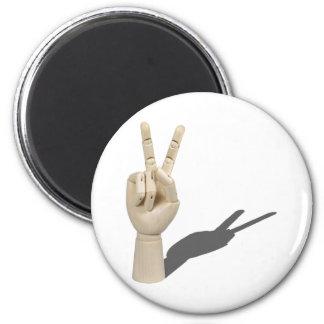 HandPeaceSign120710 2 Inch Round Magnet