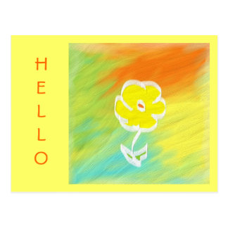 Handppainted Flower Hello Postcard