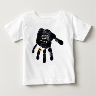 Handprint Design with Ring with Grab it like Trump Baby T-Shirt