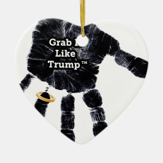 Handprint Design with Ring with Grab it like Trump Ceramic Ornament