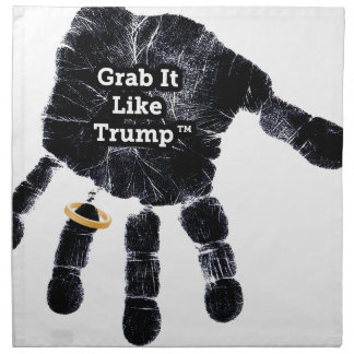 Handprint Design with Ring with Grab it like Trump Cloth Napkin