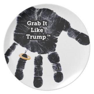 Handprint Design with Ring with Grab it like Trump Plate