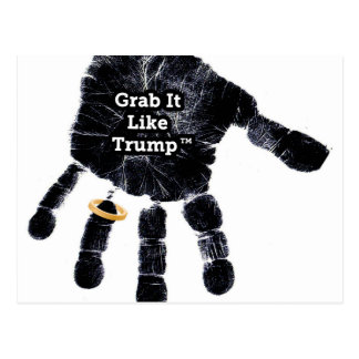 Handprint Design with Ring with Grab it like Trump Postcard