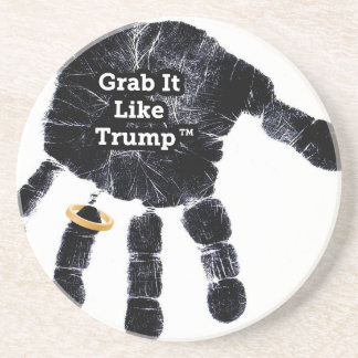 Handprint Design with Ring with Grab it like Trump Sandstone Coaster