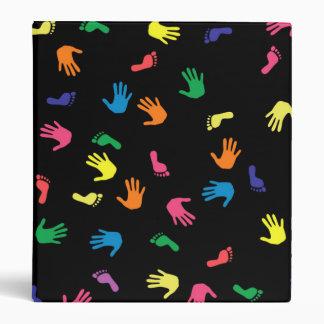 Handprint footprint multicolored 3 ring binder