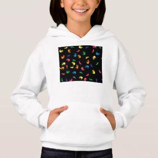 Handprint footprint multicolored hoodie